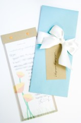 Place Cards: Envelope with name tag and a thank you note enclosed